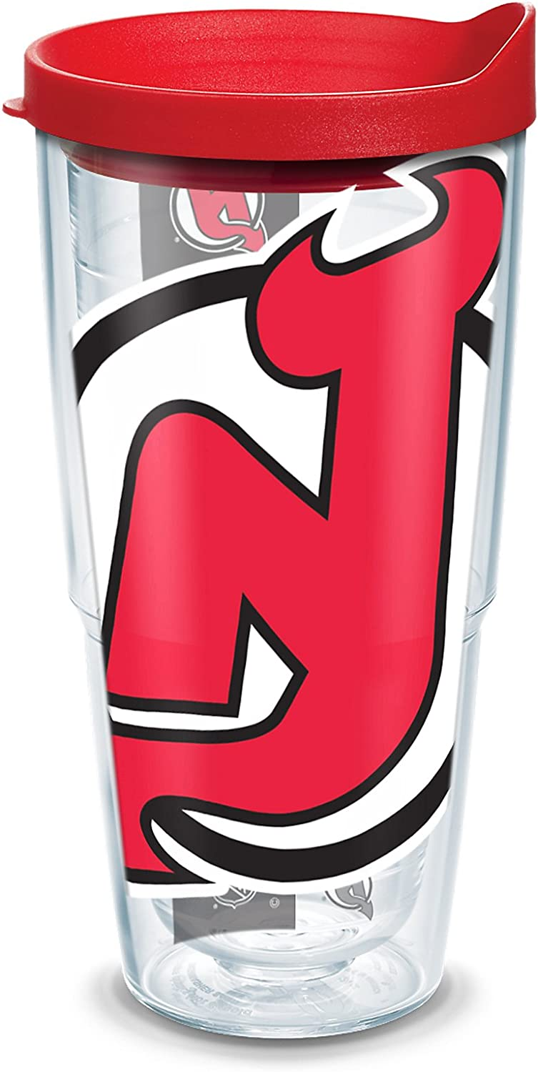 """Tervis 1105342""""NHL Nj Devils Colossal"""" Tumbler with Red Lid, Wrap, 24 oz, Clear"""