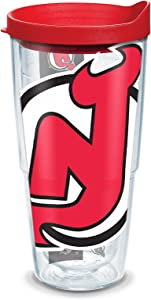 "Tervis 1105342""NHL Nj Devils Colossal"" Tumbler with Red Lid, Wrap, 24 oz, Clear"