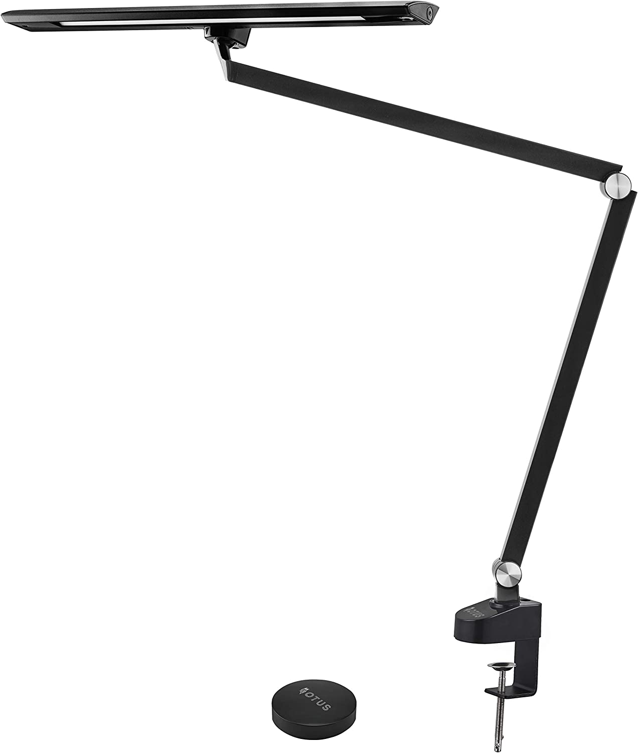OTUS Architect Desk Lamp Clamp - 12W Bright Eye-Care Tall Task Light Office - Adjustable Swing Arm Drafting Metal Table Lighting - Memory Function - Stepless Dimmer - 5 Color Modes - Remote Control