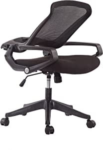 5 Minutes Completely Easy Installation Ergonomic Office Foldable Swivel Home Mesh Back Task Chair (Black)