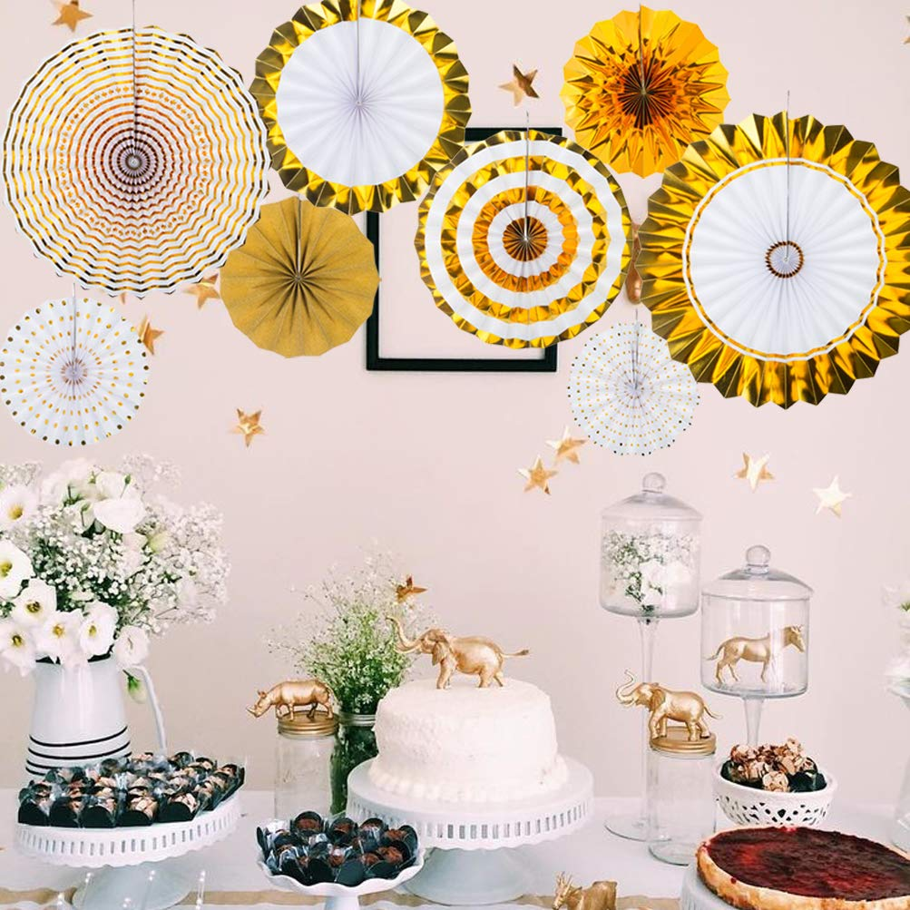 Pack of 8 MOWO Gold Black and White Paper Fans Hanging Decoration for Baby Shower Wedding Birthday New Years Party Supplies