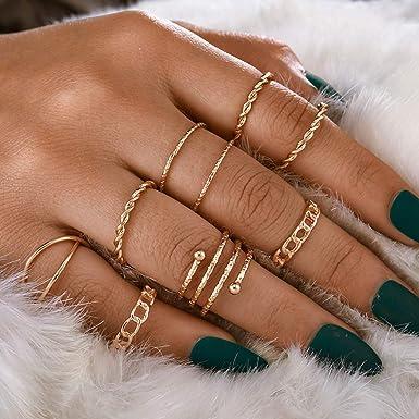 minimal gold ring set Dainty stacking rings stacking ring set Midi Rings Knuckle Ring Set Boho Chic Jewelry minimalist stacking rings