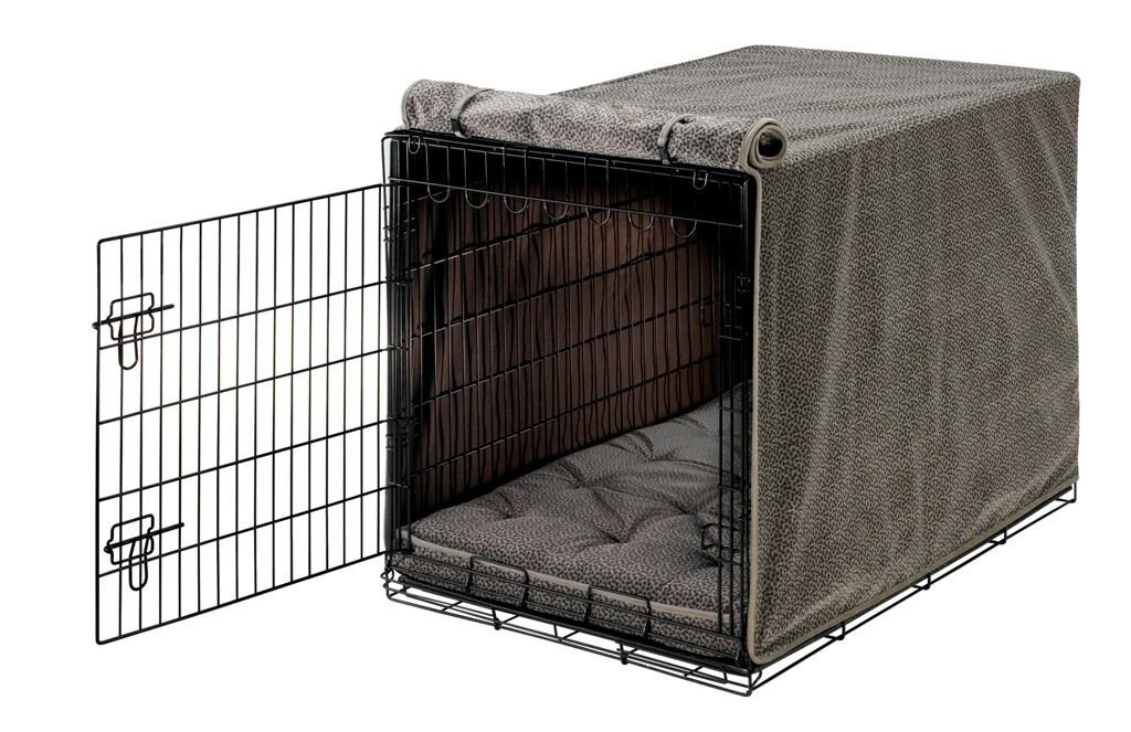 Bowsers Luxury Crate Cover, Small, Pewter Bones