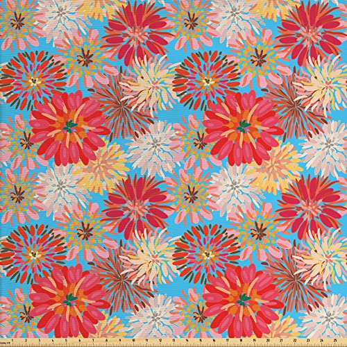 Ambesonne Dahlia Fabric by The Yard, Cheerful Floral for sale  Delivered anywhere in USA