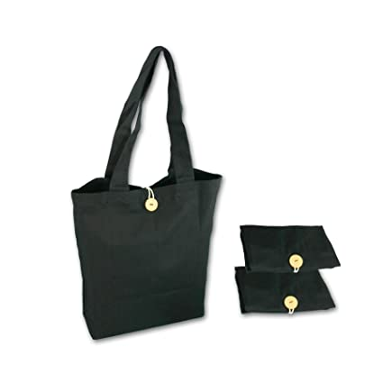 908302bfc Simple Ecology Organic Cotton Reusable Folding Tote with Loop   Button  Closure - Black 3 Pack