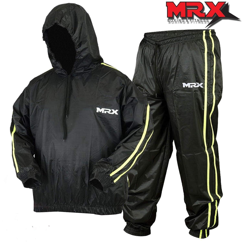 MRX Heavy Duty汗Sauna Suit with Hoodie練習ジムスーツFitness重量損失スリミングMMAトレーニングブラック/グリーン XXX-Large  B07KPJ39D7