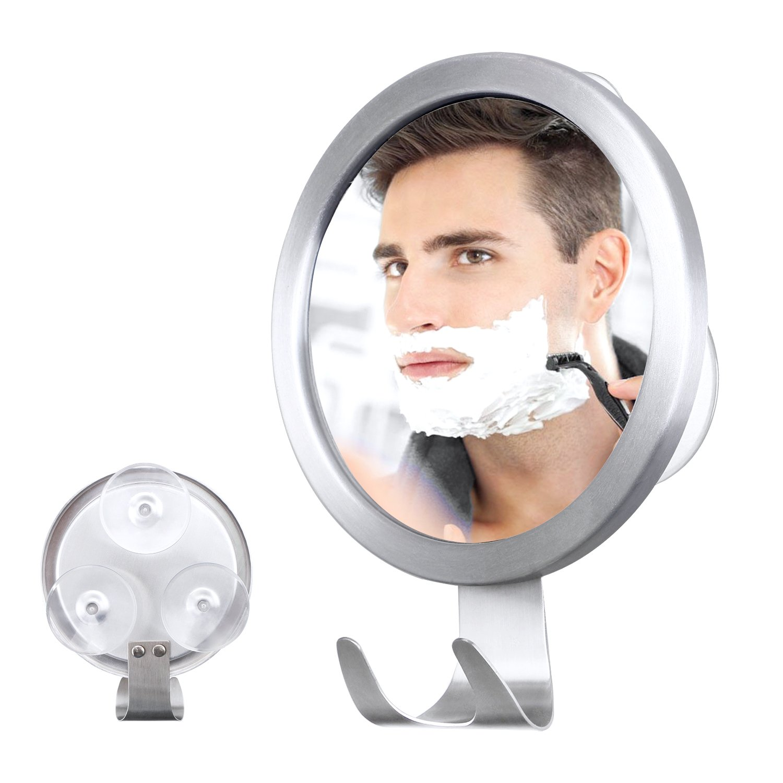 Fog Free Mirror with Strong Power Lock Premium PVC Lock Suction Cups Mirror Diameter 5 x 5 Silver M-Better Fogless Mirror with Razor Hook