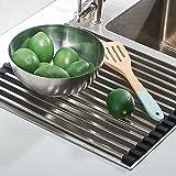 OROPY acciaio inossidabile sopra il lavello pieghevole scolapiatti Cucina scolapiatti arrotolabile per piatti verdure o frutta