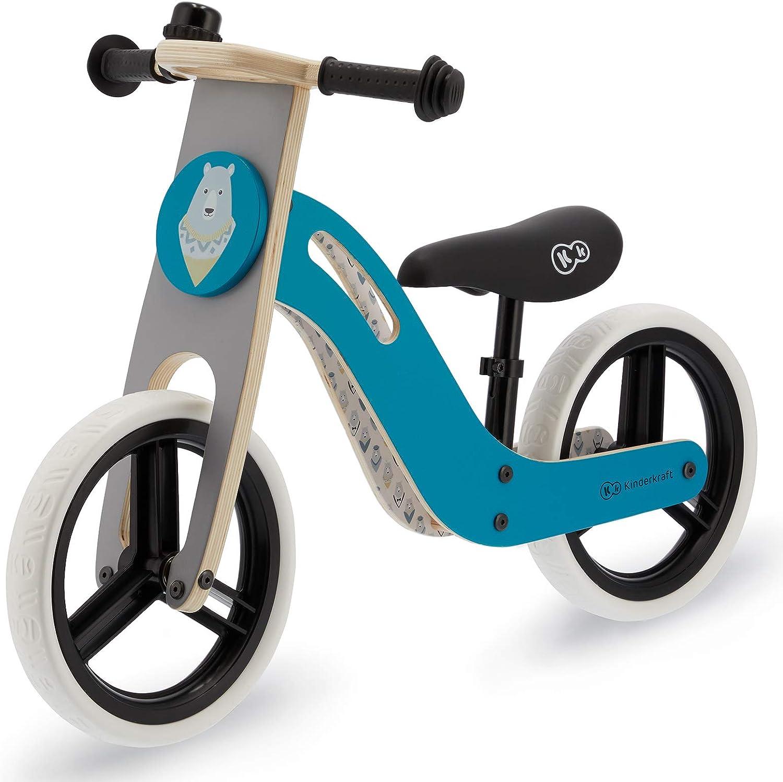 Kinderkraft Bicicleta sin Pedales UNIQ, Ultraligera, Madera, 2+ Años, Turquesa