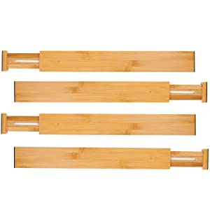Utoplike Bamboo Kitchen Drawer Dividers Adjustable Drawer Organizers,Spring Loaded,Works in Kitchen,Dresser,Bathroom,Bedroom,Baby Drawer,Desk (Set of 4)