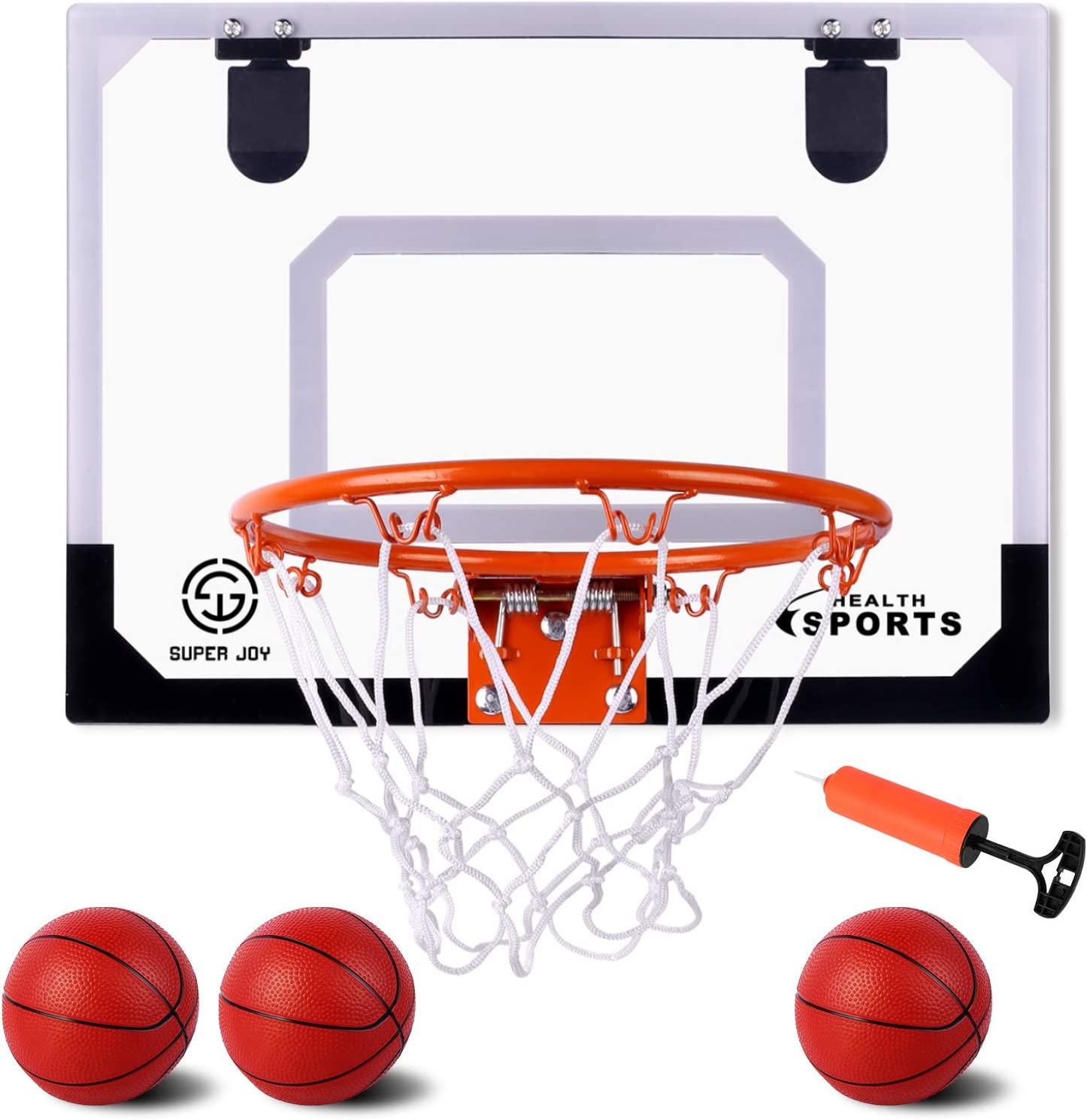 Indoor Mini Basketball Hoop Set Over The Door with 3 Balls 17.72 x 13.78 XL Size Basketball Backboard Indoor Slam Dunk Game for Kids and Adults