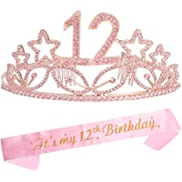 12th Birthday Tiara and Sash Pink, Happy 12th Birthday Party Supplies, Satin Sash and Crystal Tiara Birthday Crown for…