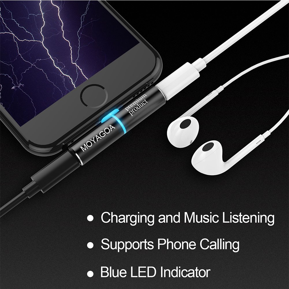 Lightning Headphone Adapter iPhone dongle - Listening to Music + Charging at the same time. Supports IOS11. iPhone7, 7 Plus, 8, X. Operates perfectly for your device. Comes with a bright metal case. M
