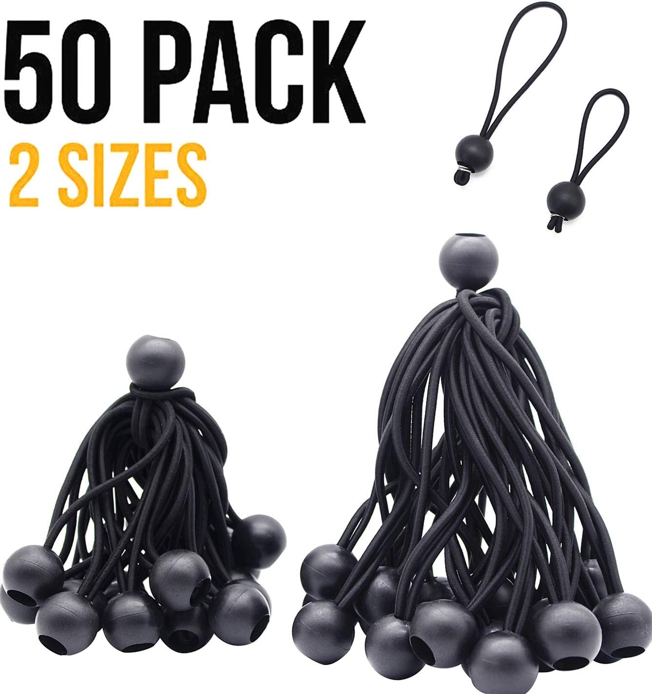 4inch & 6 inch 50PK Ball Bungee Canopy Cord Black Color For Securing Household Items, Securing Automotive Items - -