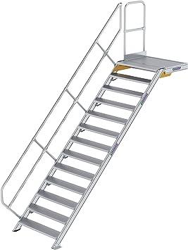 GÜNZBURGER STEIGTECHNIK Escalera de aluminio con plataforma de 45° 13 peldaños: Amazon.es: Bricolaje y herramientas