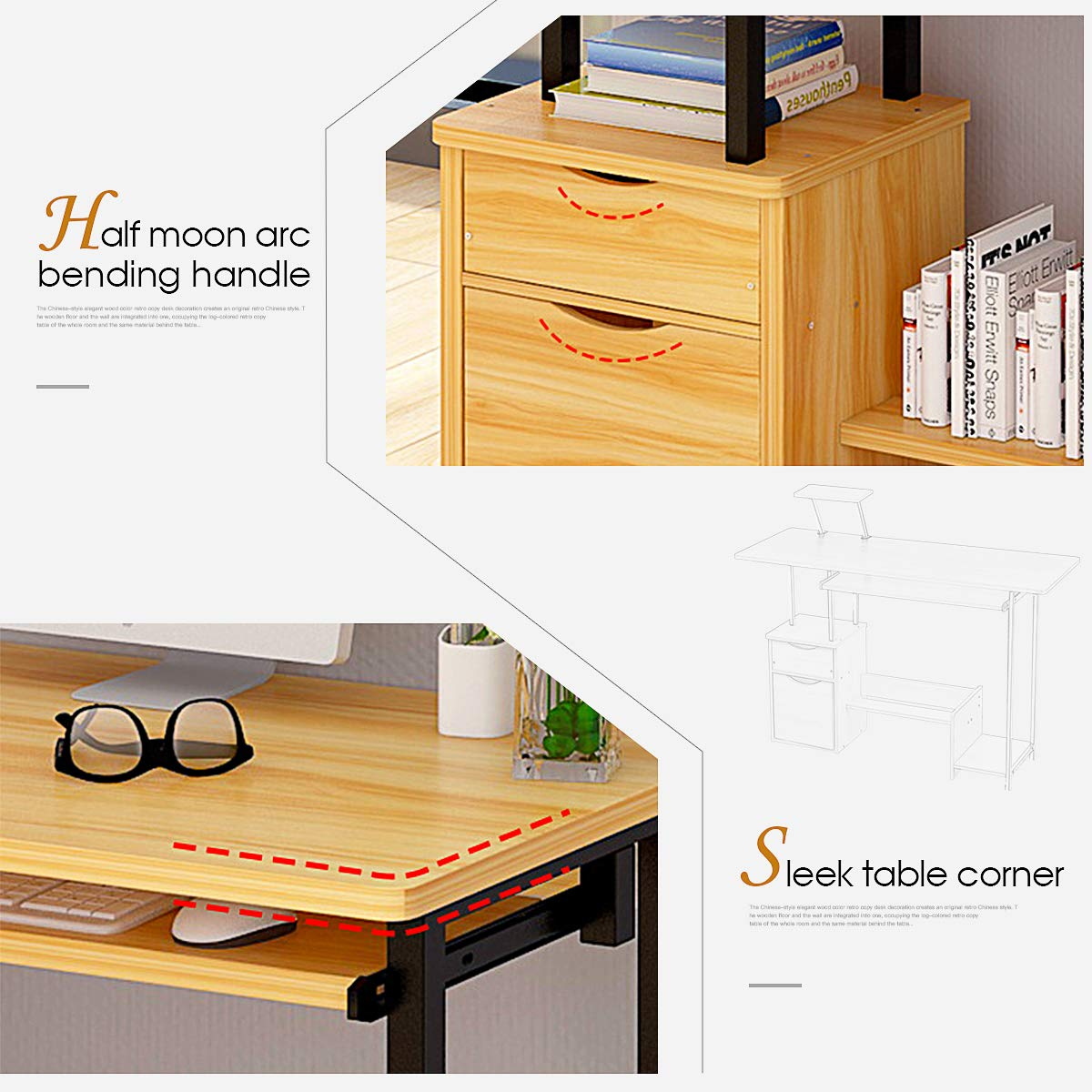 Computer Desk,Laptop Desk Modern Style Writing Study Table Home Office Desk Compact Gaming Desk Multipurpose PC Workstation Steel Frame and Bookshelf for Home Office with Keyboard Tray & CPU Holder by Suninhome (Image #3)