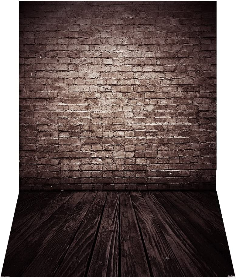 Andoer 1.5 * 2.1m/5 * 7ft Retro Photography Background Abstract Old Master Brick Wall Wood Floor Backdrop Photo Studio Props