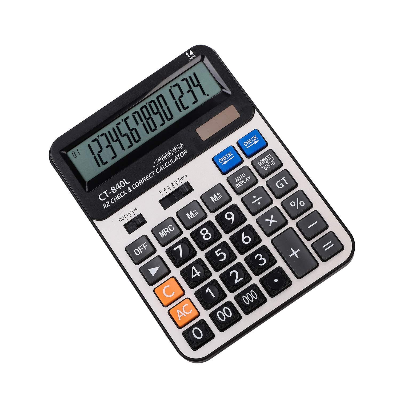 Tischrechner 14-stelliger Standard Desktop Taschenrechner Funktion mit gro/ßem Display Rechenmaschine Dual-Power Solar und Batterie Calculator gro/ße tasten Solarrechner Business home Schreibtisch B/üro