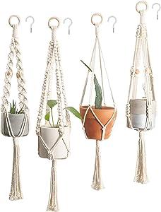 4 Pack Macrame Plant Hangers with Hooks Crochet Plant Hangers Hanging Planter Stand Flower Pots Boho Wall Art Decor (Color 1)