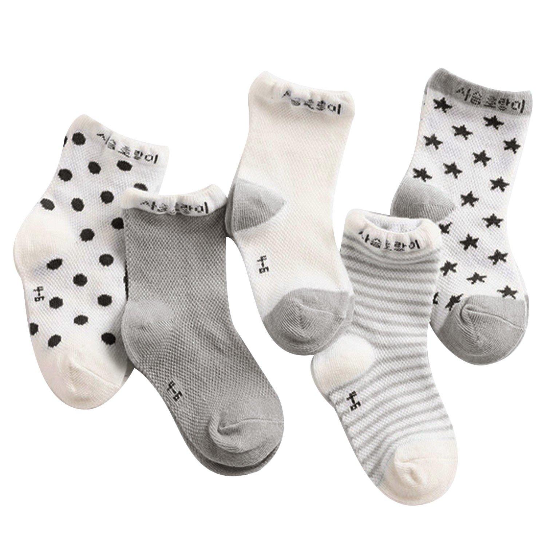 5 Pairs Fashion Cute Kawaii Mesh Cotton Thin Crew Socks for Kids Children Boys Girls Gosearca