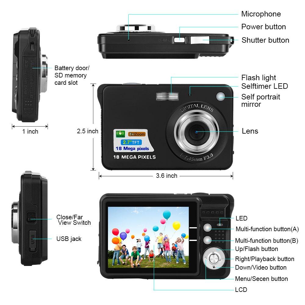 Yasolote HD Mini Point Shoot Digital Camera Video Recorder Cameras Sports,Travel,Holiday,Birthday Present by Yasolote (Image #6)