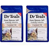 Dr Teals Coconut Oil Pure Epsom Salt Soaking Solution 3 lbs (Pack of 2)