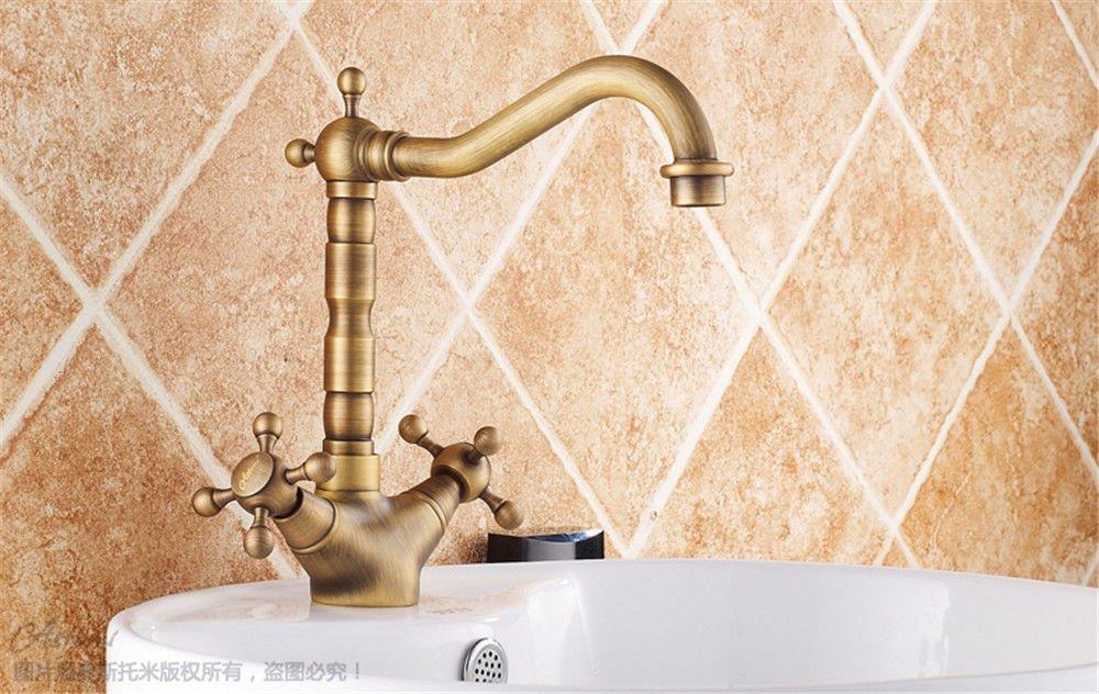 Gyps Faucet Waschtisch-Einhebelmischer Waschtischarmatur Badarmatur Alle Kupfer Antik Wasserhahn Becken mit Dem Kalten Wasser Hahn Einloch Retro abgesenkt Waschtischmischer,Mischbatterie Waschbecken