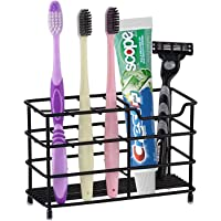 New Wave Premium Bathroom Toothbrush Holder- Stainless Steel Rust Proof Build with Multi-Functional 6 Slot Design