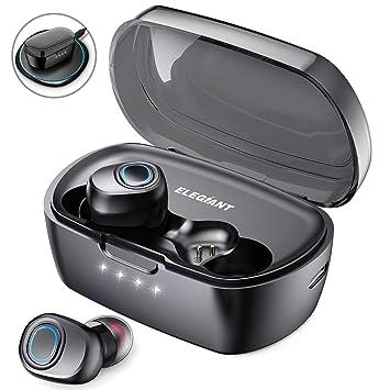 ELEGIANT Auriculares Bluetooth 5.0, TWS Mini Cascos Inalámbricos con Micrófono Estéreo Soporta Carga Inalámbrica Rápida +Tipo C Carga 60 Horas de Uso ...