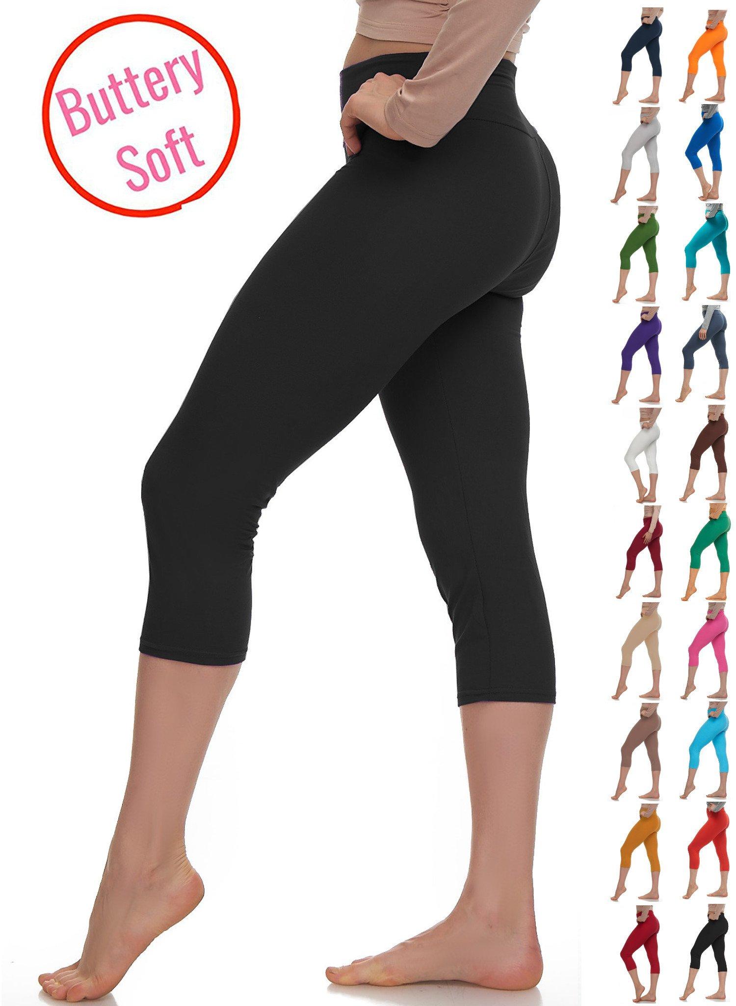 Lush Moda Extra Soft Capri Leggings - Variety of Colors - Yoga Waist - Black