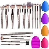 BESTOPE 18Pcs Makeup Brushes Set, 4Pcs Beauty Blender Sponge Set and 1 Brush Cleaner, Premium Synthetic Foundation Make…