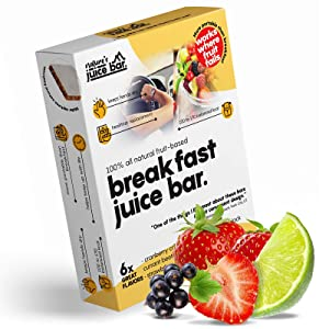 Nature's Juice Bar Breakfast Bars - Healthy Fruit and Protein Snack for Energy, Meal Replacement that is Gluten-Free, Vegan and Low-Calorie - Breakfast Bar