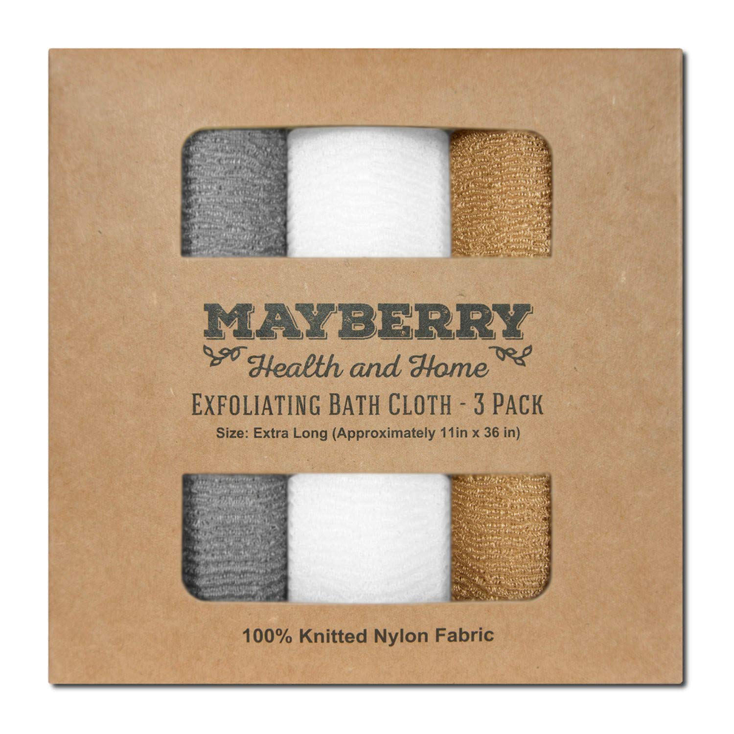 Extra Long (36 Inches) Exfoliating Bath Cloth (3 Pack) Gray, White, and Brown Nylon Bath Towel, Stitching on All Sides for Added Durability