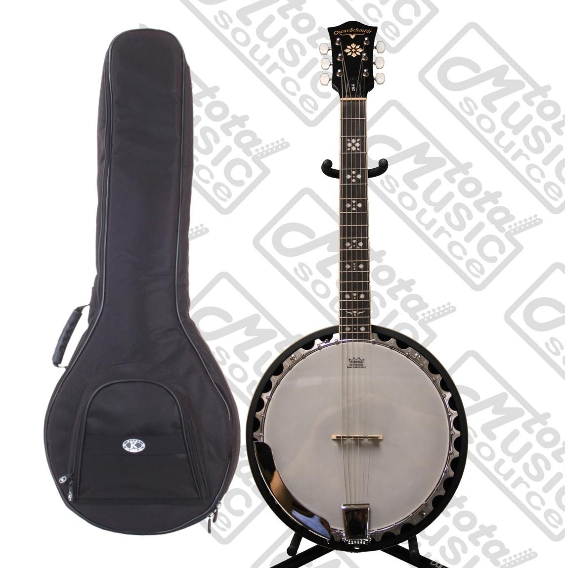 Oscar Schmidt 6-String Banjo, Remo Head, Mahogany Resonator GIG BAG POLISH CLOTH, OB6 KBBU