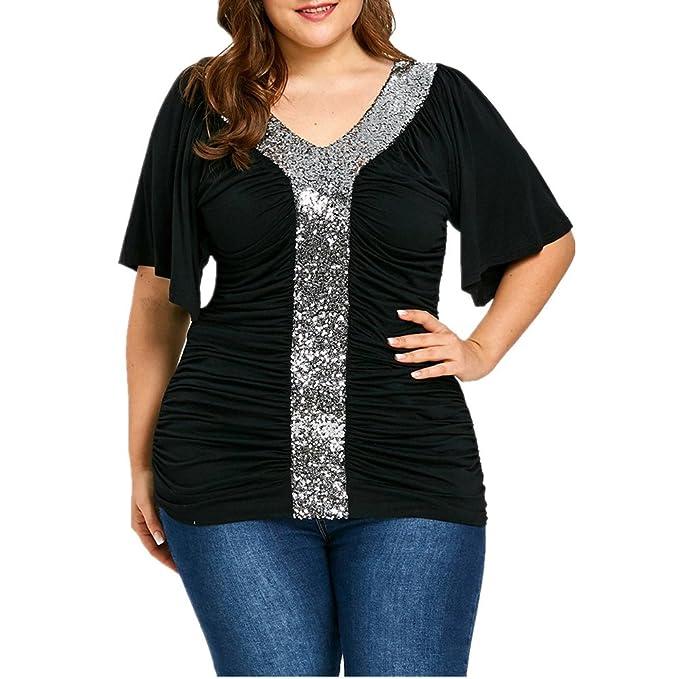 FAMILIZO Camisetas Mujer Tallas Grandes ❤️XL~5XL Camisetas Mujer Verano Blusa Mujer Elegante Camisetas