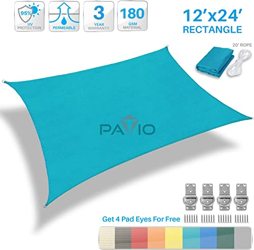 Patio Paradise 12' x 24' FT Solid Turquoise Green Sun Shade Sail Rectangle Square Canopy
