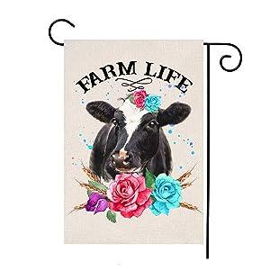 MFGNEH Farm Life Double Sided Cow Farmhouse Decorations Garden Flag Burlap Yard Outdoor Decor 12x18 Inch,Farmhouse Garden Flag
