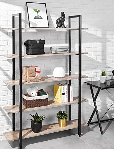 Bookshelf 5 Tier 47Lx13Wx70H inches Bookcase Solid 130lbs Load Capacity Industrial Bookshelf, Sturdy Bookshelves with Steel Frame, Storage Organizer Home Office Shelf, Wood-Grain