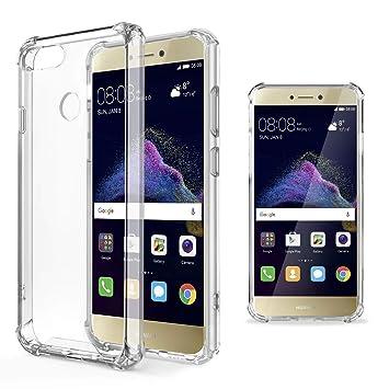 Moozy Funda Silicona Antigolpes para Huawei P8 Lite 2017 - Transparente Crystal Clear TPU Case Cover TPU Flexible