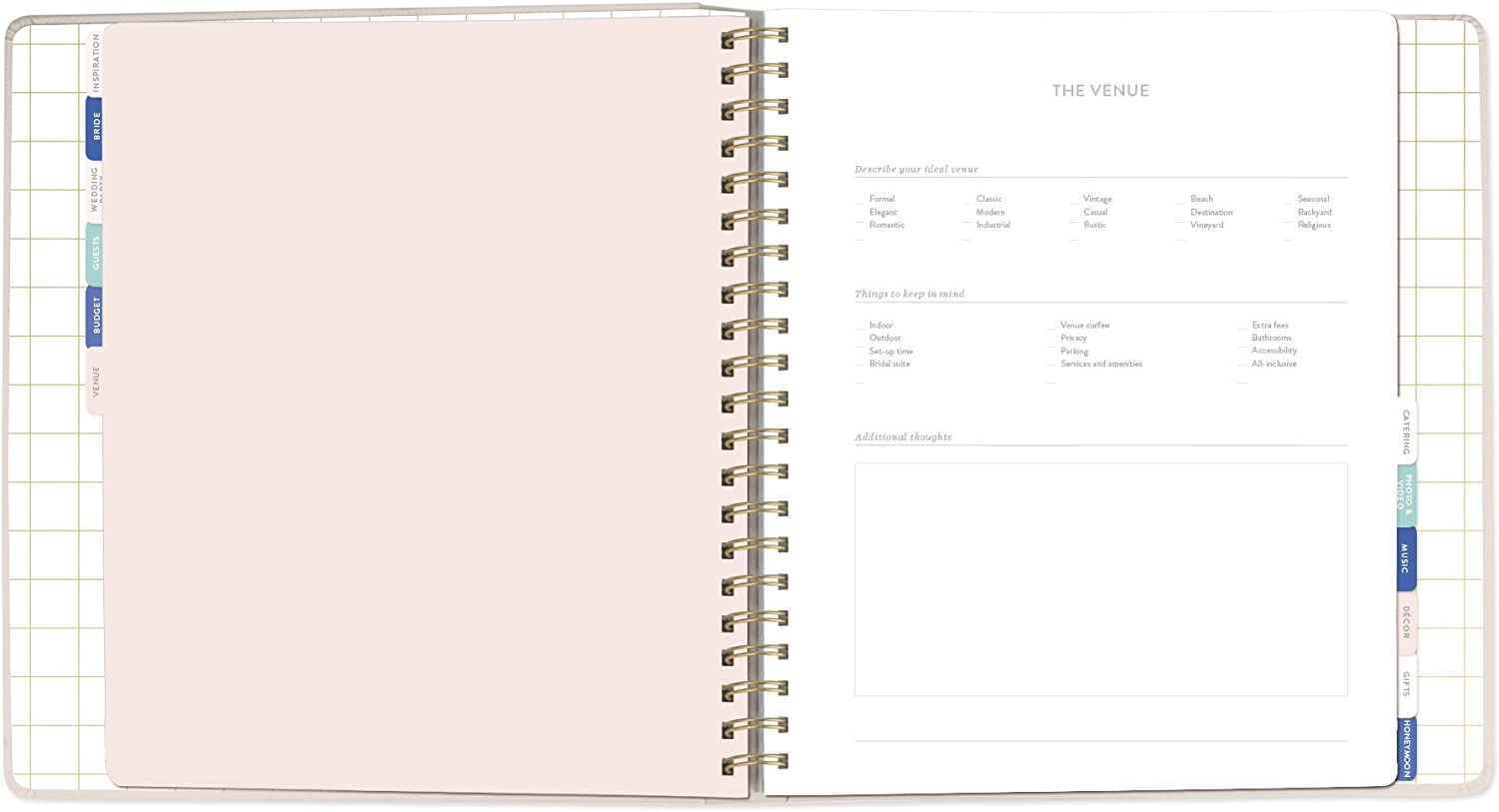 157002 FRINGE STUDIO Garland Wedding Planner Planner has 152 pages and includes a storage pocket.