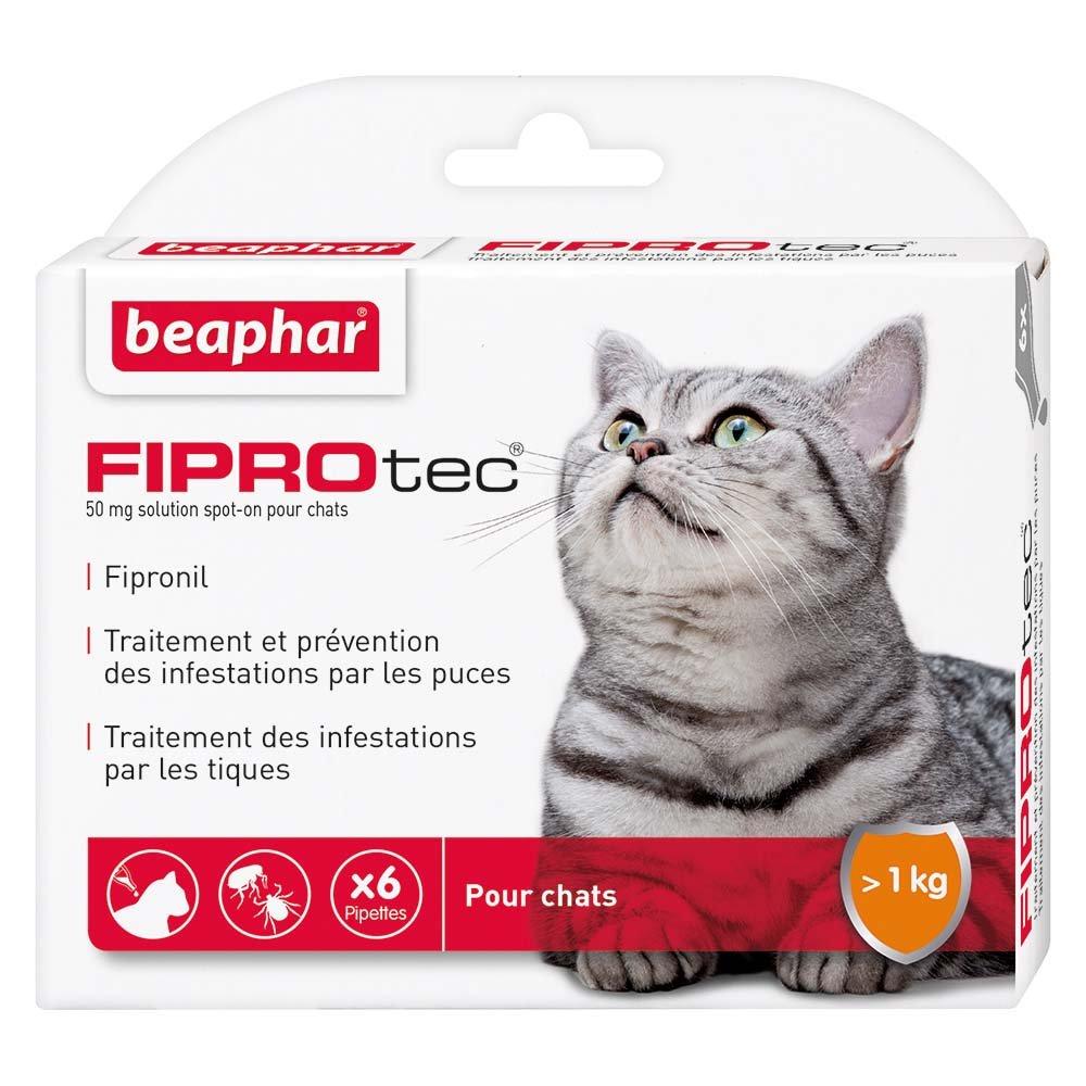 Beaphar - FIPROtec, Pipettes Anti-puces et Anti-tiques au Fipronil - Chat - 6 Pipettes 13543 anti-puces chat anti puces chat antipuces chat