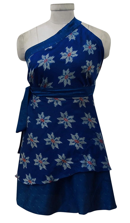 Indianbeautifulart Doble Capa Magenta Pura Seda Corta de Las Mujeres del Abrigo Reversible Vestido Corto: Amazon.es: Ropa y accesorios