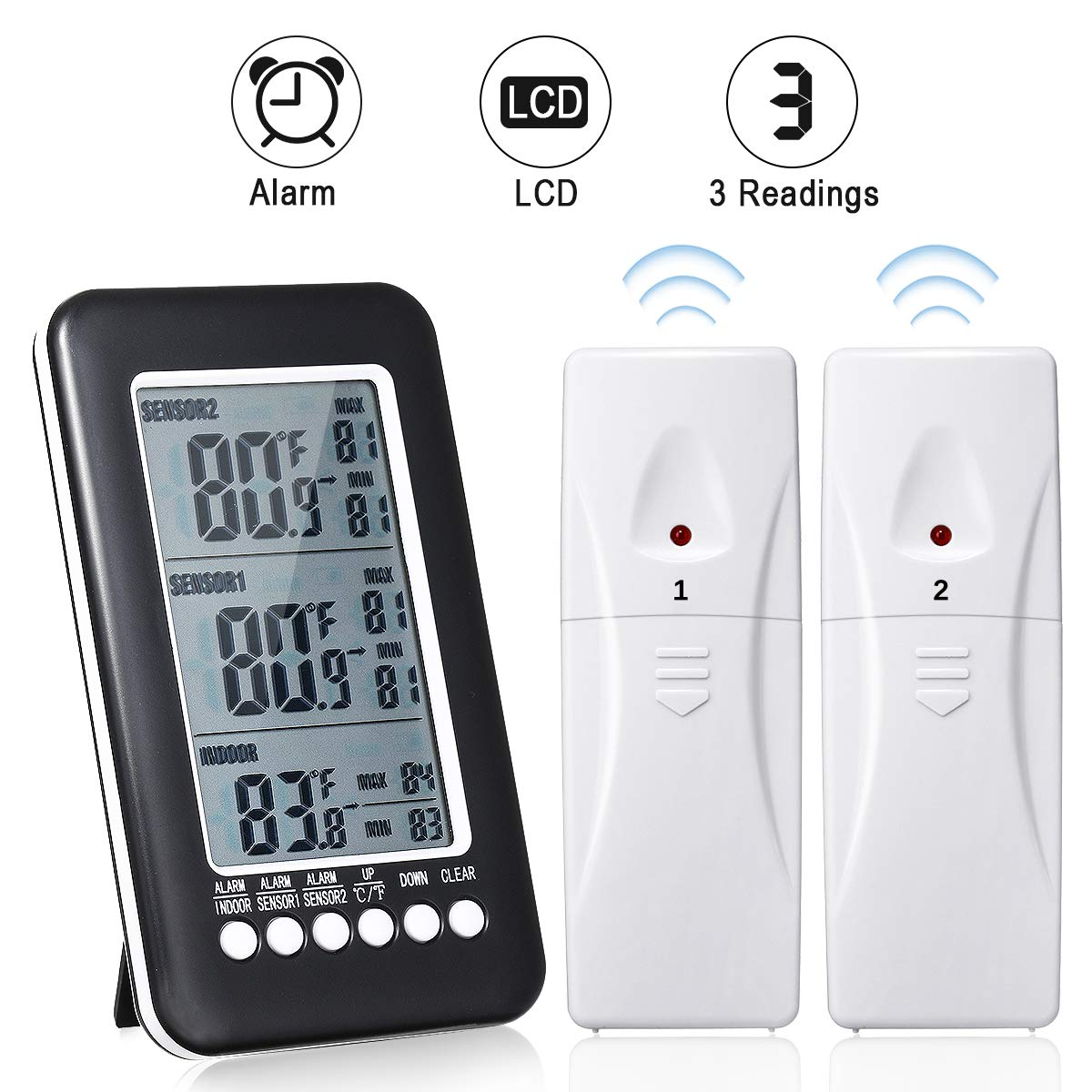 GEMITTO Digital Indoor Outdoor Thermometer, with Temperature Gauge & LCD Alarm Clock, Wireless Outdoor Weather Meter, for Bedroom Greenhouse Garage Warehouse by GEMITTO