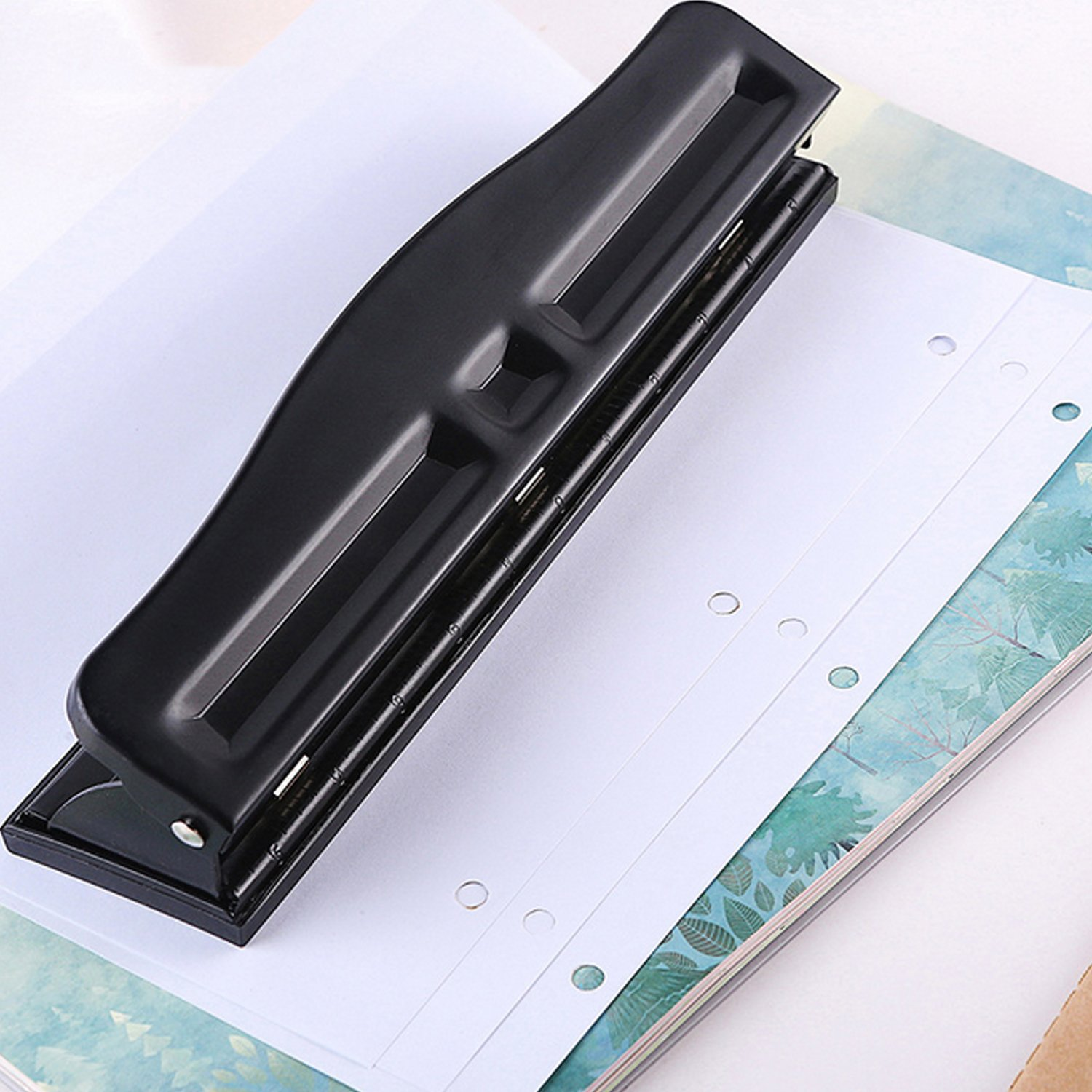Adjustable 3 Hole Punch, SmartTouch, Low Force, 1/4-Inch, Size, 8-10 Sheet Capacity Punch Capacity, Black