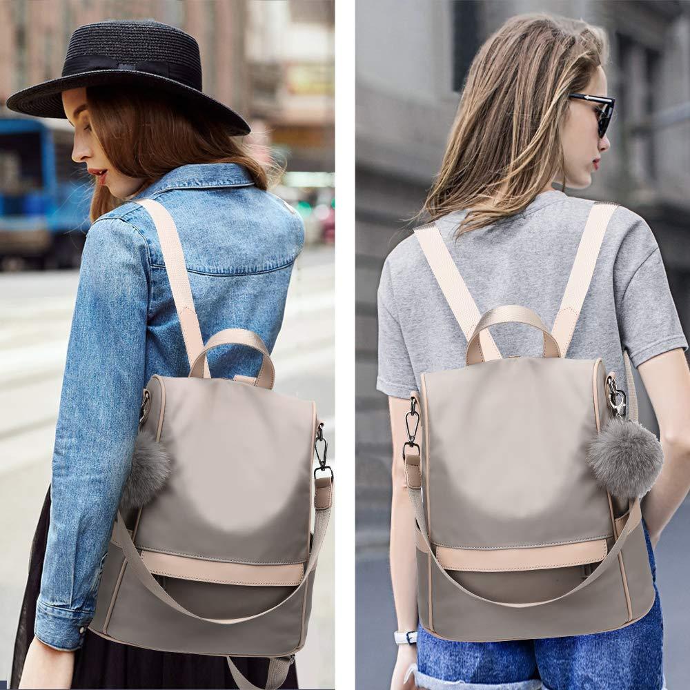 Women Backpack Purse Nylon Anti-theft Fashion Casual Lightweight Travel School Shoulder Bag (Khaki) by Cheruty (Image #7)