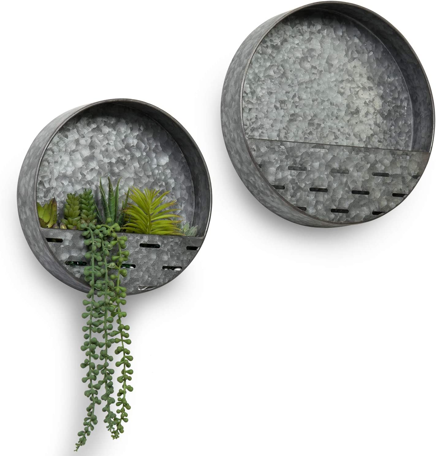 MyGift Rustic Silver Galvanized Metal Round Decorative Succulent/Air Plant Hanging Wall Planter Pots, Set of 2