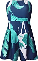 Elevesee Women's Off Shoulder Romper Strapless Floral Print Striped Beach Shorts Jumpsuit