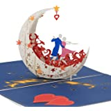 3D Anniversary Card - For Her, Him, Couple, Wife, Husband, Girlfriend, Boyfriend - A Dance on Moon Boat To The Edge Of The World - Anniversary Card for Her,Birthday Card,Valentines Day Card-White