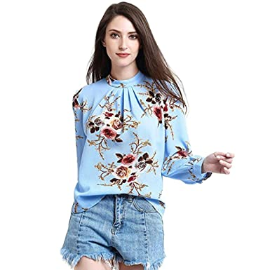afed629ba16 Fashion Women s Business Floral Printed Long Sleeve T-Shirt Office Casual  Stand Collar Blouse Tops