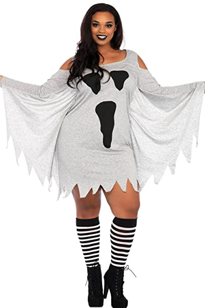 Amazon Cutepaw Halloween Ghost Print Flare Sleeve Plus Size